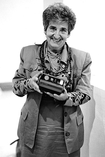 Ruth Braunstein featured with a Polaroid 600. In 1981, Polaroid also brought to market the 600 high speed color Land film.