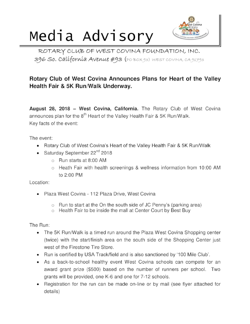 First page of the Media Advisory sent out to our media contacts. Click on the page to download the entire document in PDF format.