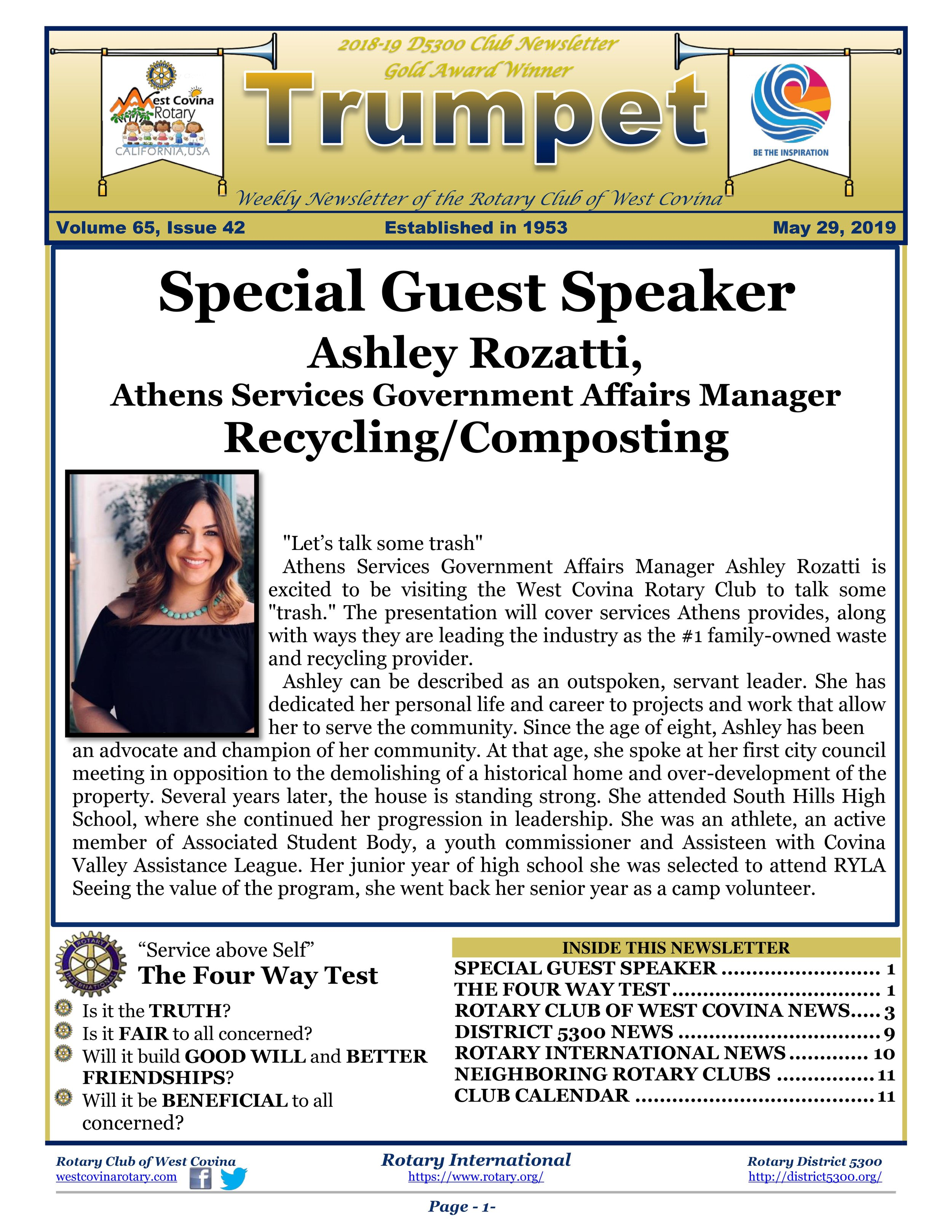 Trumpet Newsletter - Volume 65, Issue 42 — West Covina Rotary