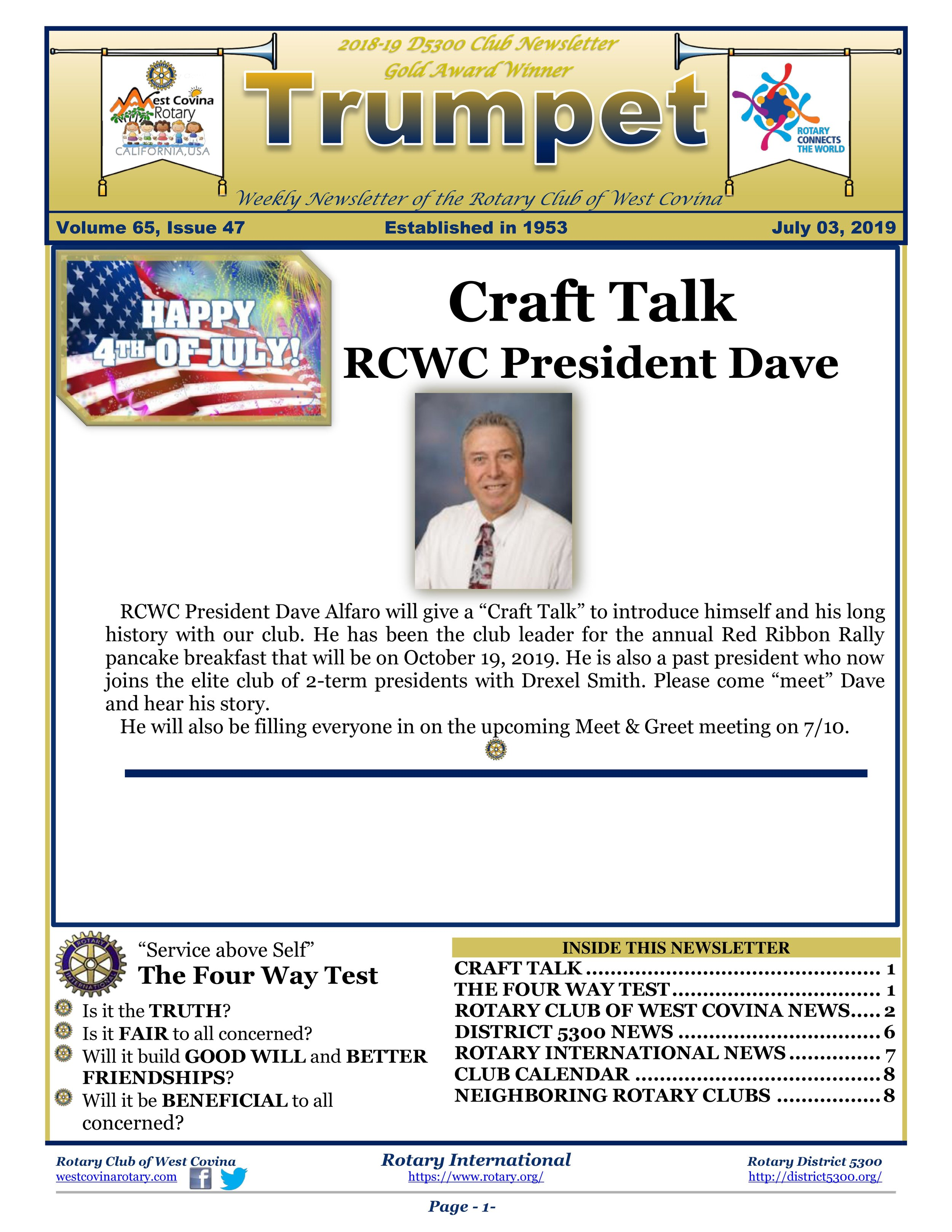 Newsletter — West Covina Rotary