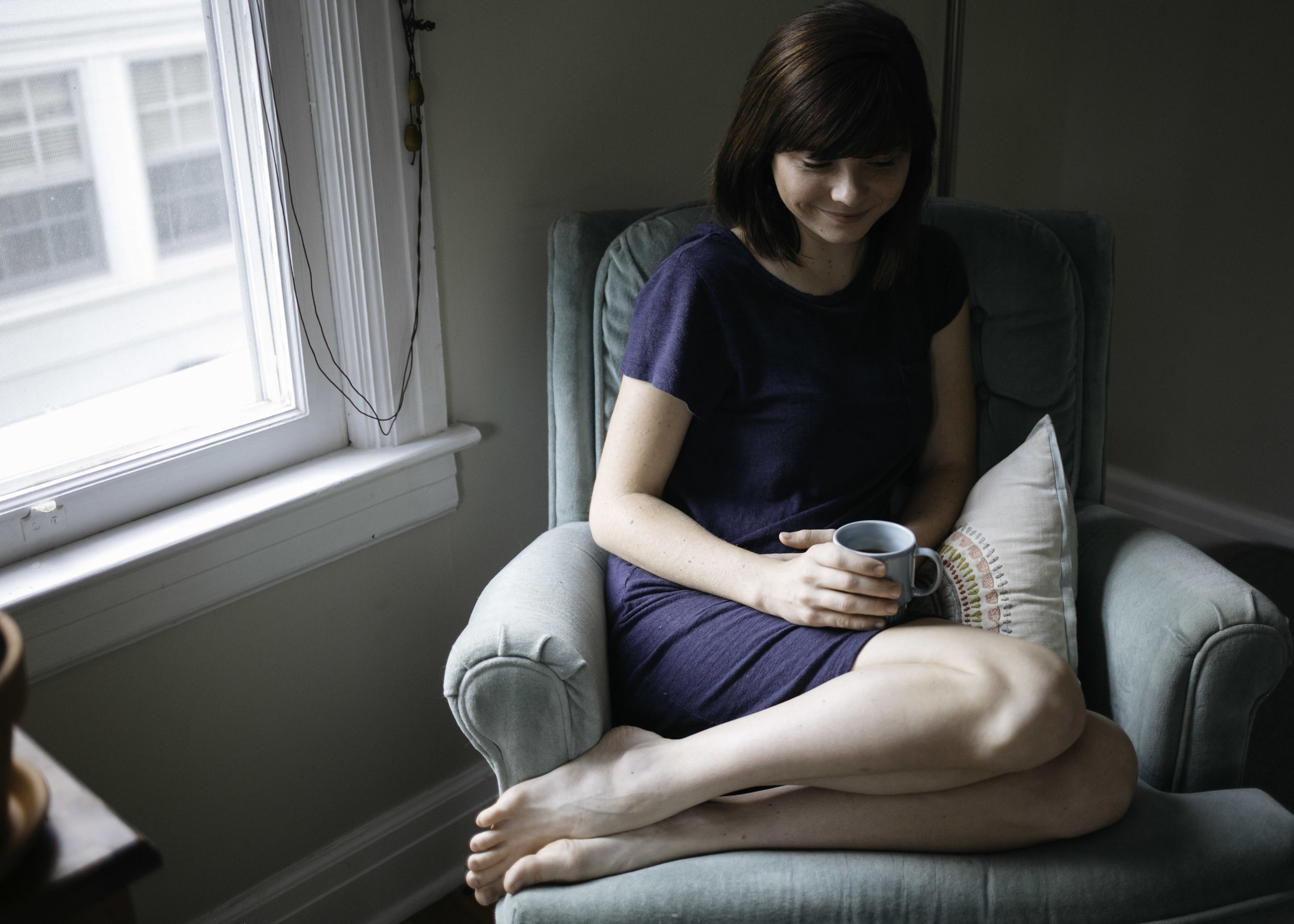 Tea, maternity, chair, window, smile, pregnant, in-home, engagement, love, lifestyle, morning, simple, Saturday