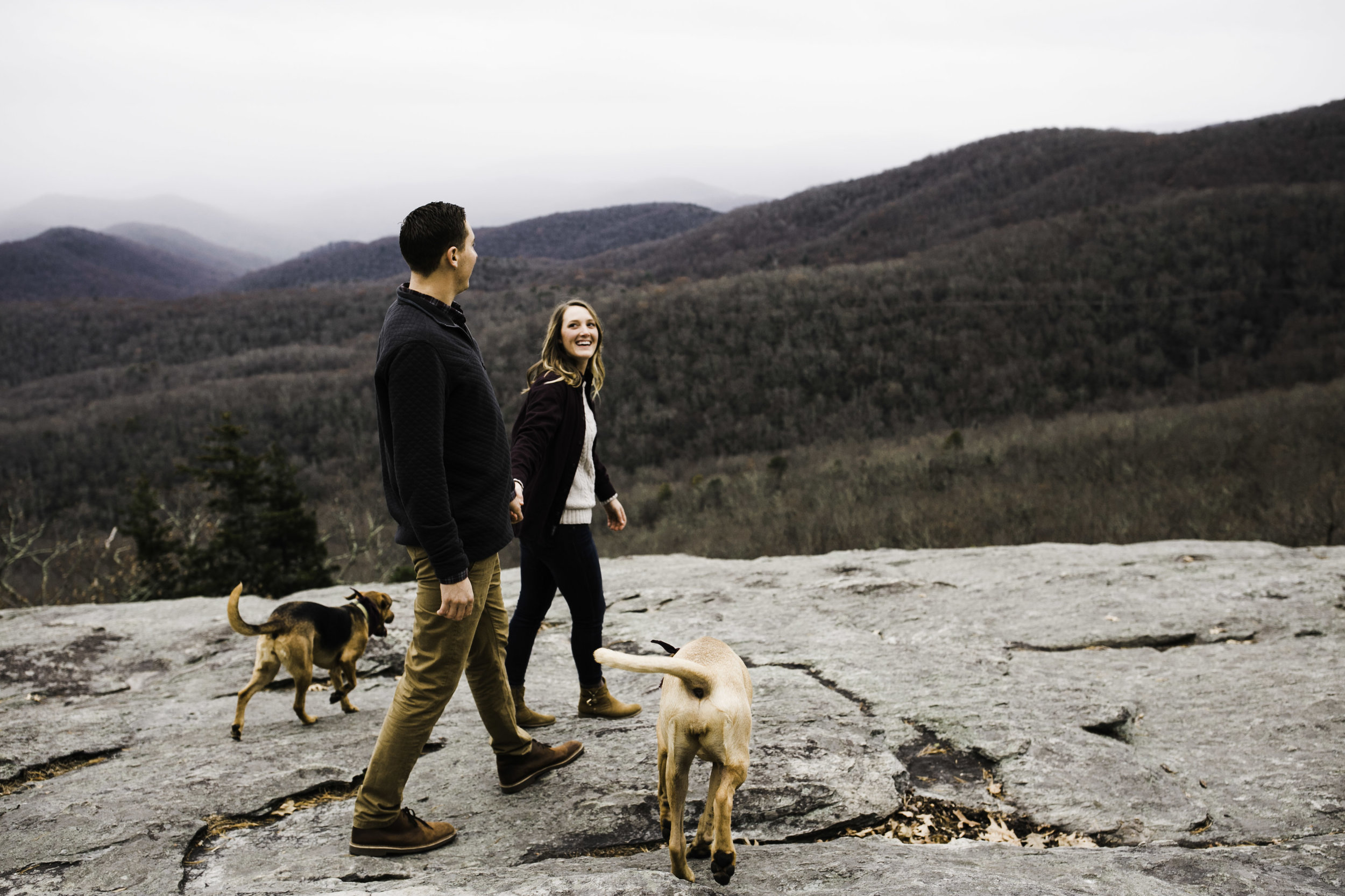 Blue Ridge Parkway, dogs anniversary session, Asheville, Boone, mountains, North Carolina, West Virginia wedding photographer, adventure session, couples session, outdoor adventure, intimate, bold, artistic photography, Charleston West Virginia Wedding Photographer