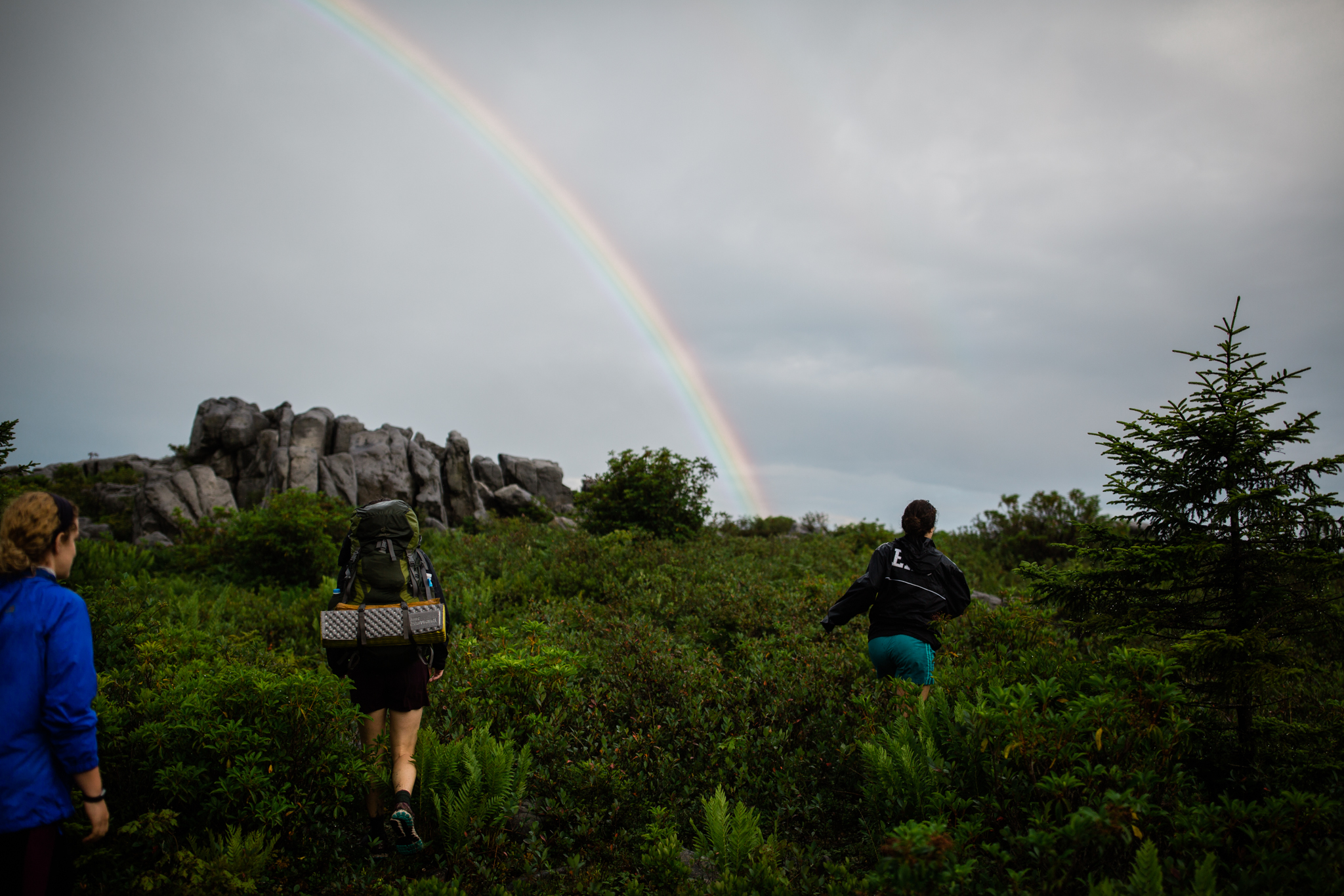 Hiking in Dolly Sods West Virginia, West Virginia adventure photographer, Dolly Sods adventures, rainy day adventures, rainy hike. A rainbow emerges during a rainy backpacking trip at Dolly Sods, WV