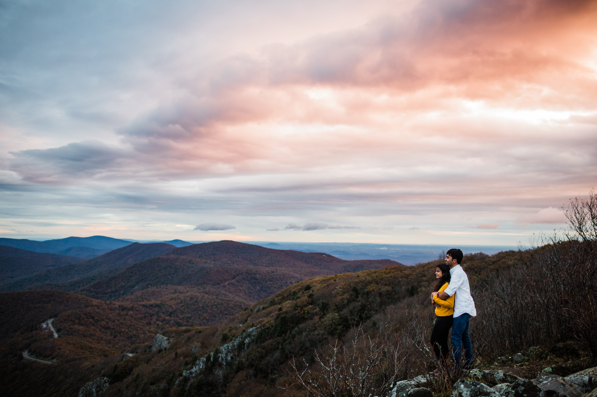Loved this Skyline Drive/Shenandoah National Park surprise proposal turned engagement shoot! Ironically all of my sunrise proposals in Shenandoah National Park have happened during FREEZING weather, but these two were champs and hiked up to this beautiful overlook and then through the park with me