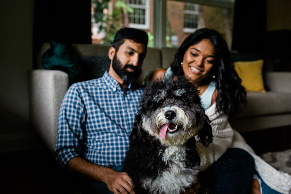 A rainy in-home session in Charleston, WV featuring Basil the bernedoodle (that's a dog in case you aren't familiar with this breed), Bailey's Irish Whiskey, hot chocolate, books and snuggles.