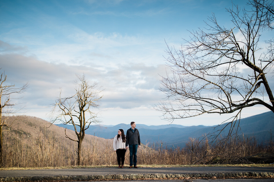 These two cuties got one of the first warm days of spring for their March engagement session on the Blue Ridge Parkway near Charlottesville and Staunton, Virginia.