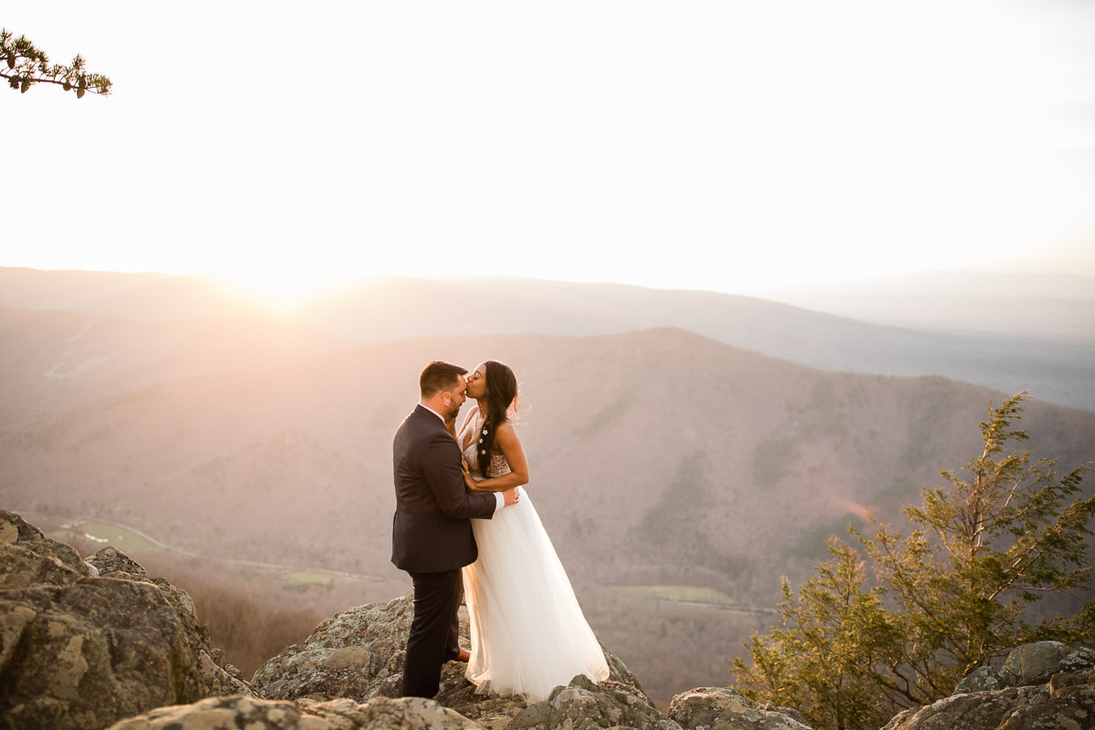 An intimate elopement at Ravens Rock off of the Blue Ridge Parkway near Charlottesville, Virginia