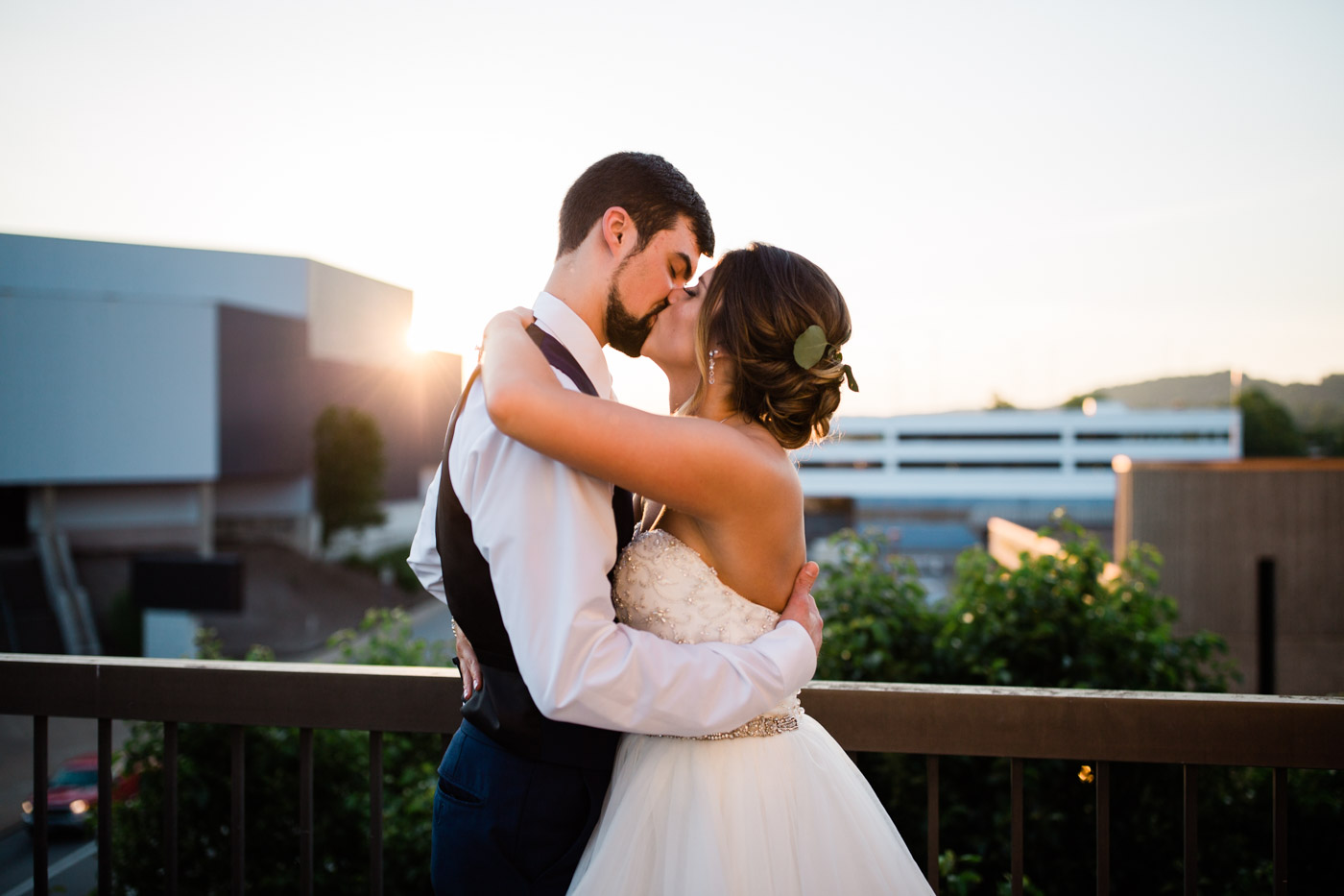 Sunset photos at an urban wedding in Charlottesville, Virginia