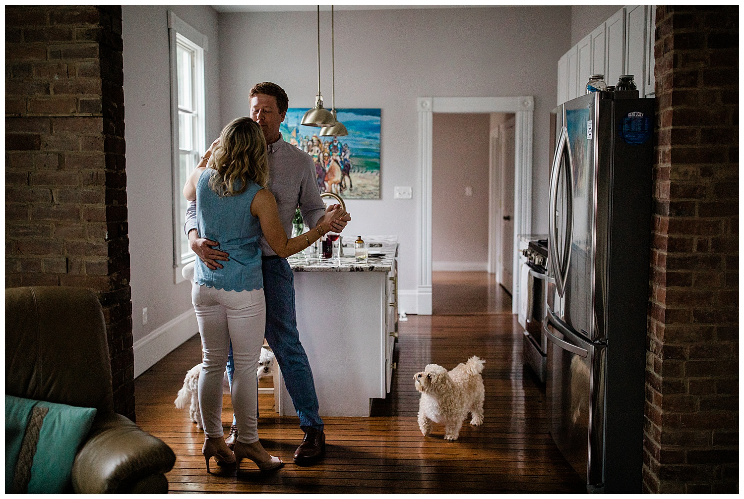 In-home engagement session with dogs. Charlottesville Virginia wedding photographer