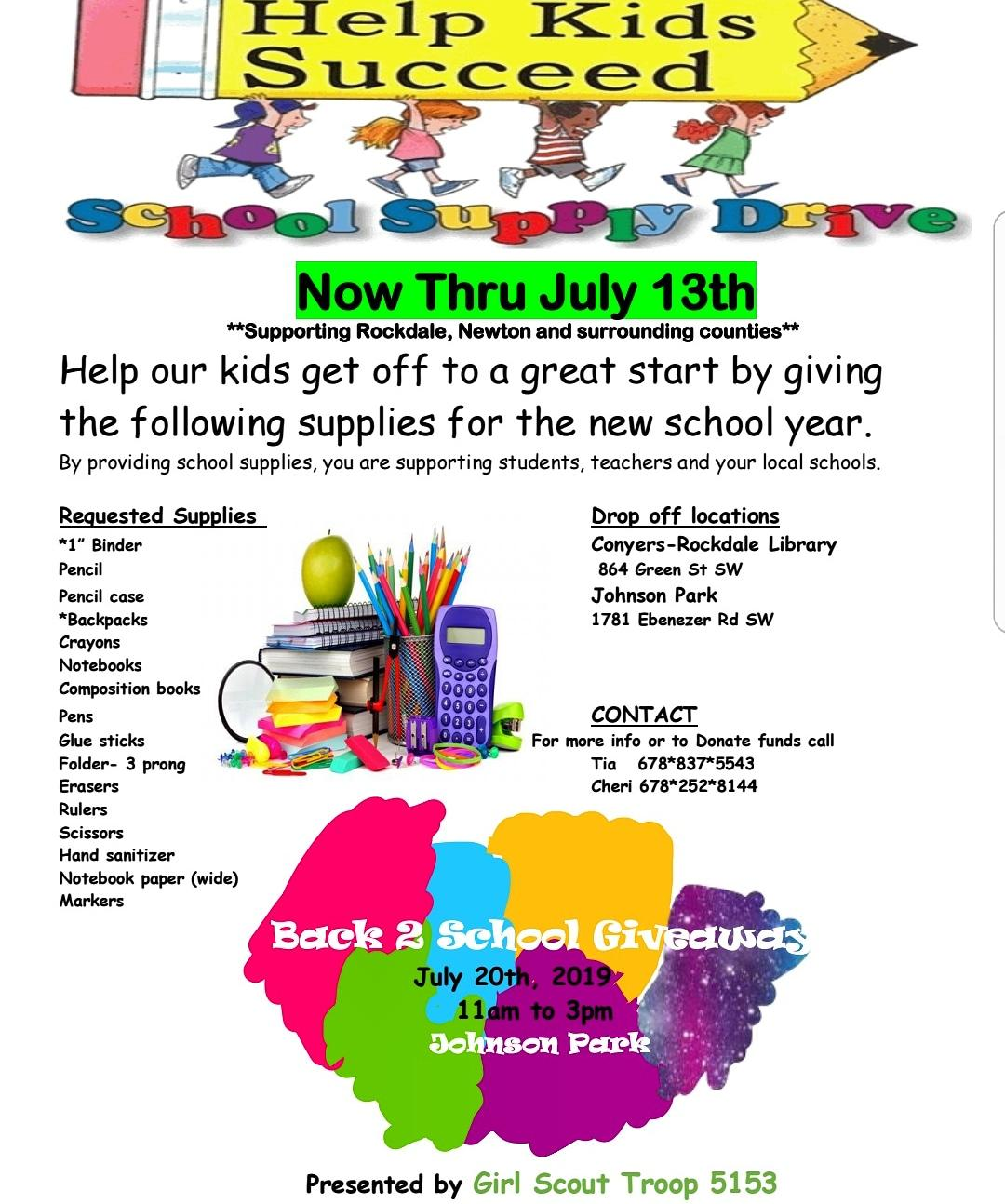 PLEASE DONATE SUPPLIES TO 2386 CLOWER ST. SUITE C-214 SNELLVILLE, GA 30078  ALL DONATIONS GO TO THE GIRL SCOUT TROOPS IN ROCKDALE COUNTY *DONATIONS ARE DUE JULY 13TH*  AND OR Paypal.me/Creatingourfutureinc
