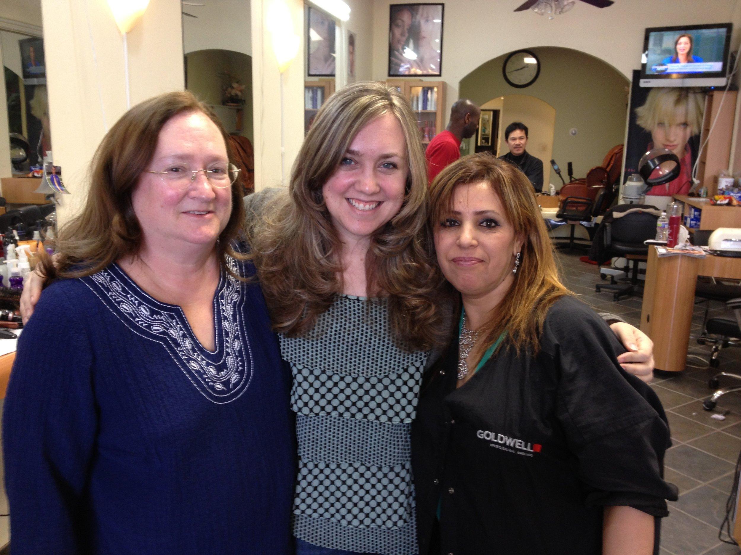 Mom Amy Cox and Fatima the Hair Stylist.jpg