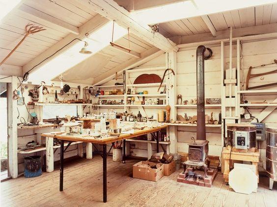 Blunk's whitewashed workshop