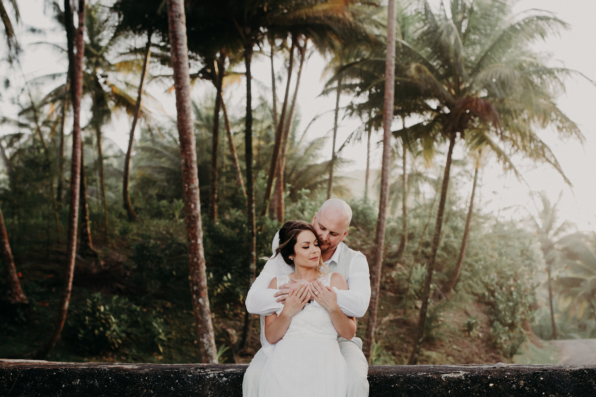 Tropical location of bride and groom