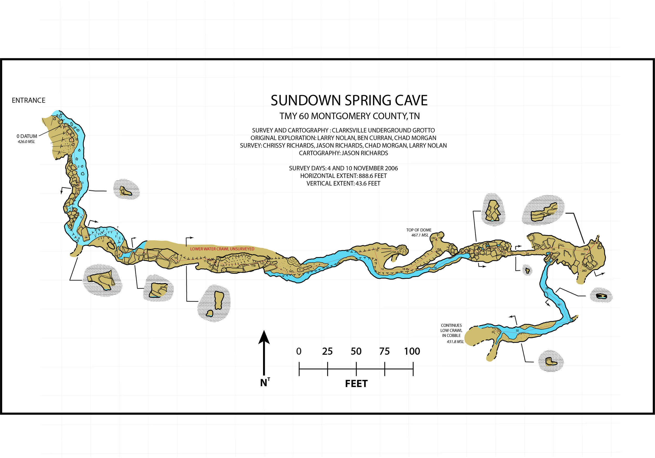 The final map, published to the  Tennessee Cave Survey.