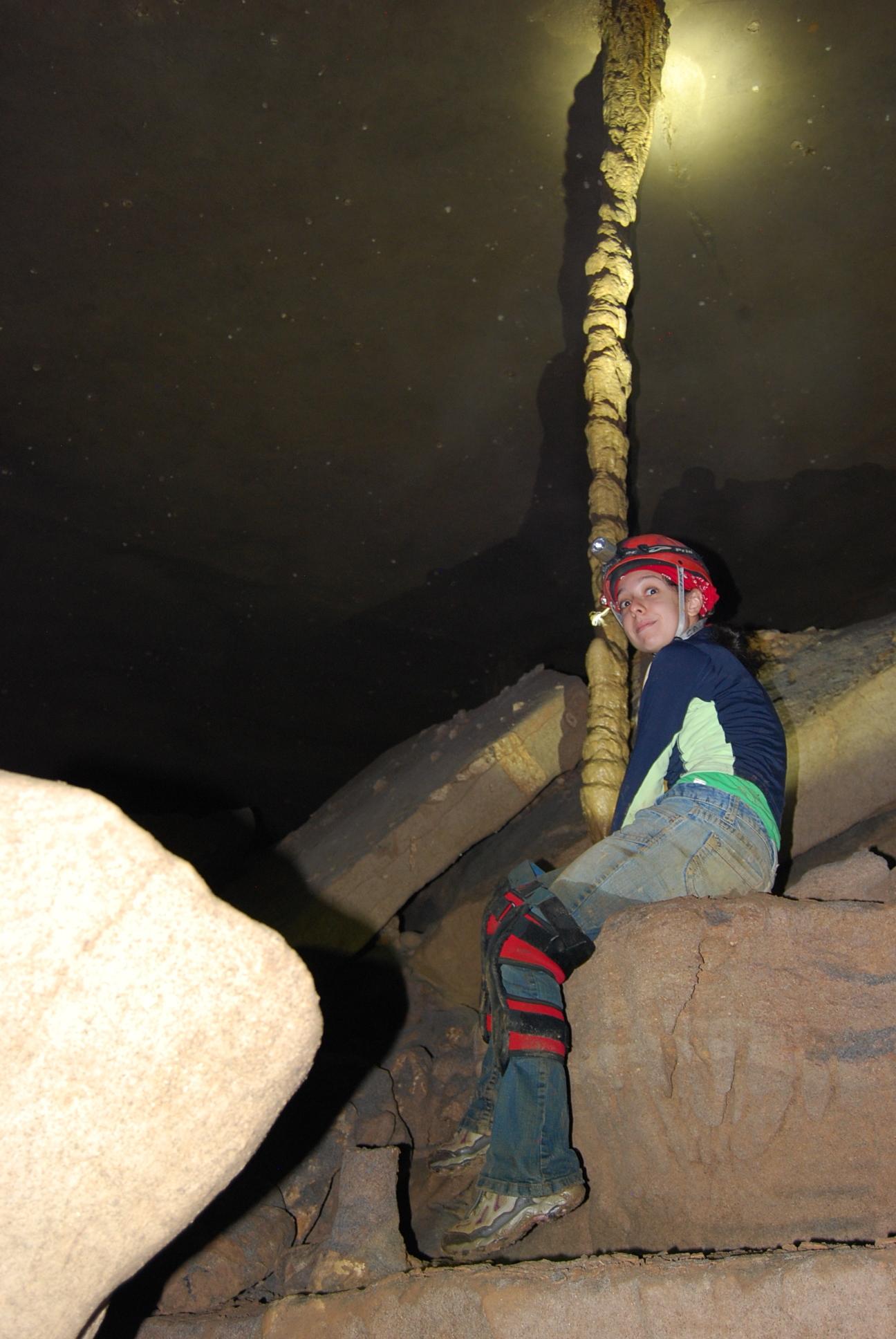 Caver enjoys a 20 foot tall column.