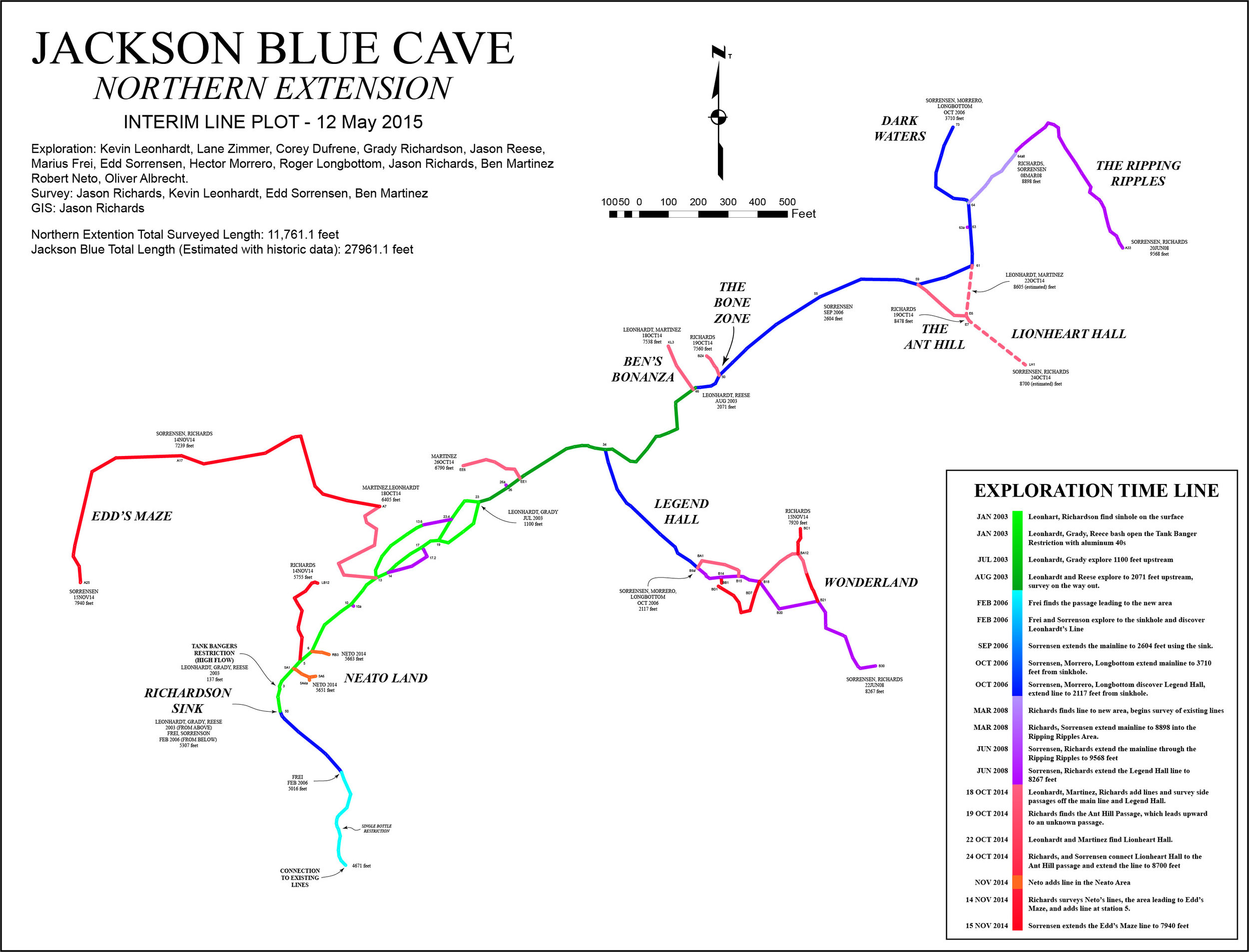 This map was shown at the 2015 NSS-CDS convention. The passage way to this portion of the cave has since collapsed.