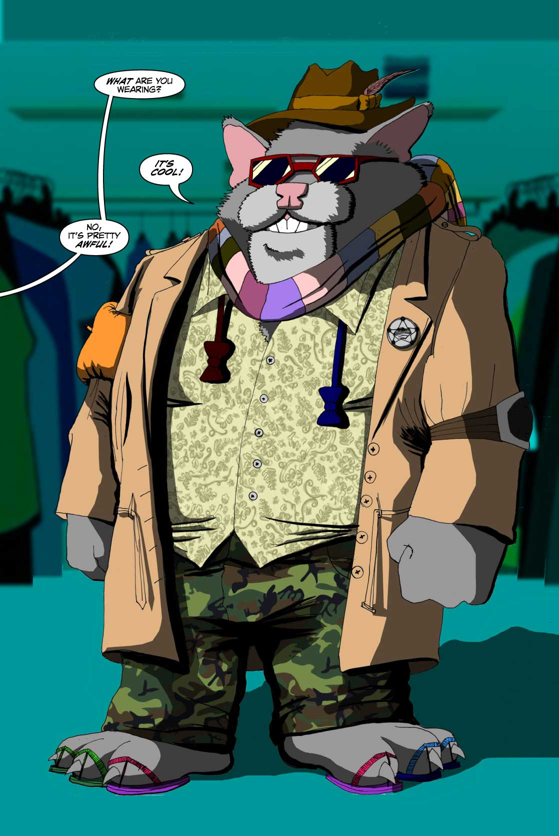 PAGE 38 Roosevelt is decked out in a horrid clash of garments. The Hat and scarf are references to the Tom Baker Doctor Who, the Bow Ties are reference to the Matt Smith Doctor Who, the glasses should be gaudy red, white and blue. The shirt is a Hawaiian print. The only things he'll continue to wear are the Camo Pants and the Trench Coat. ROOSEVELT: I all dressed!