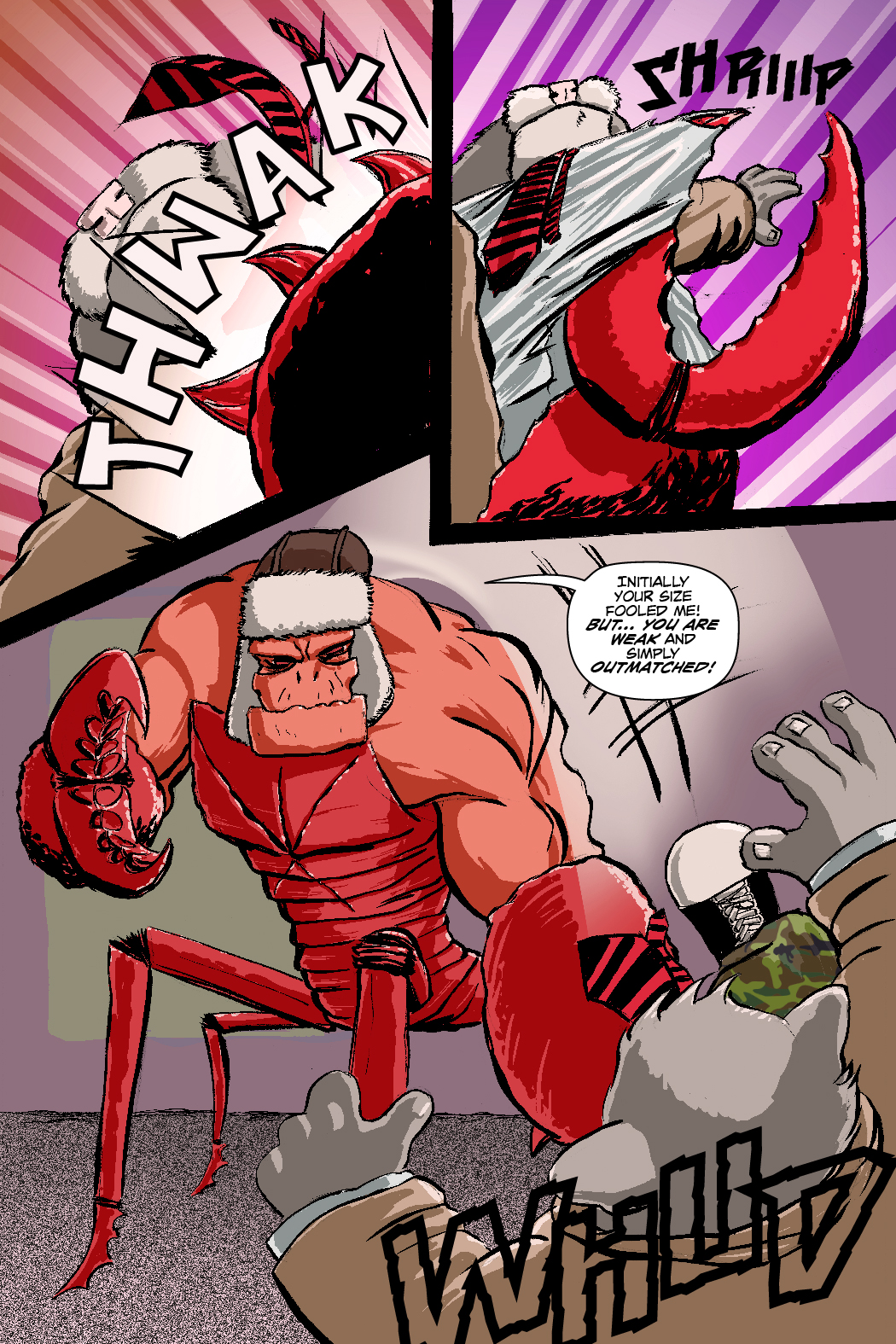 PAGE 53 Panel 1,2 and 3. Lobstar strikes Roosevelt, tears his coat and flips him. LOBSTAR: Your size fooled me! You're simply outmatched you idiot!