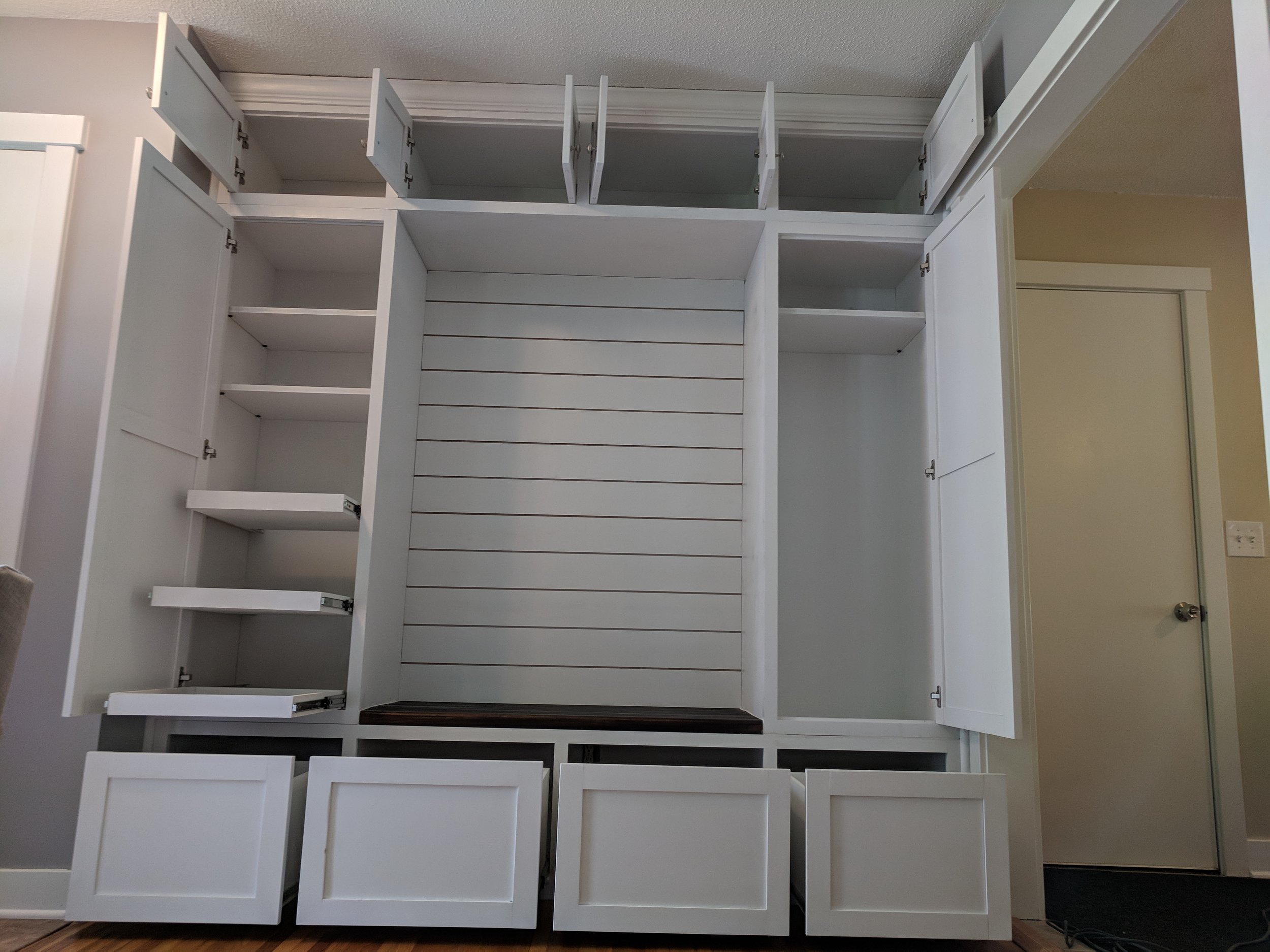 Custom design by customer including pullout drawers and adjustable shelves