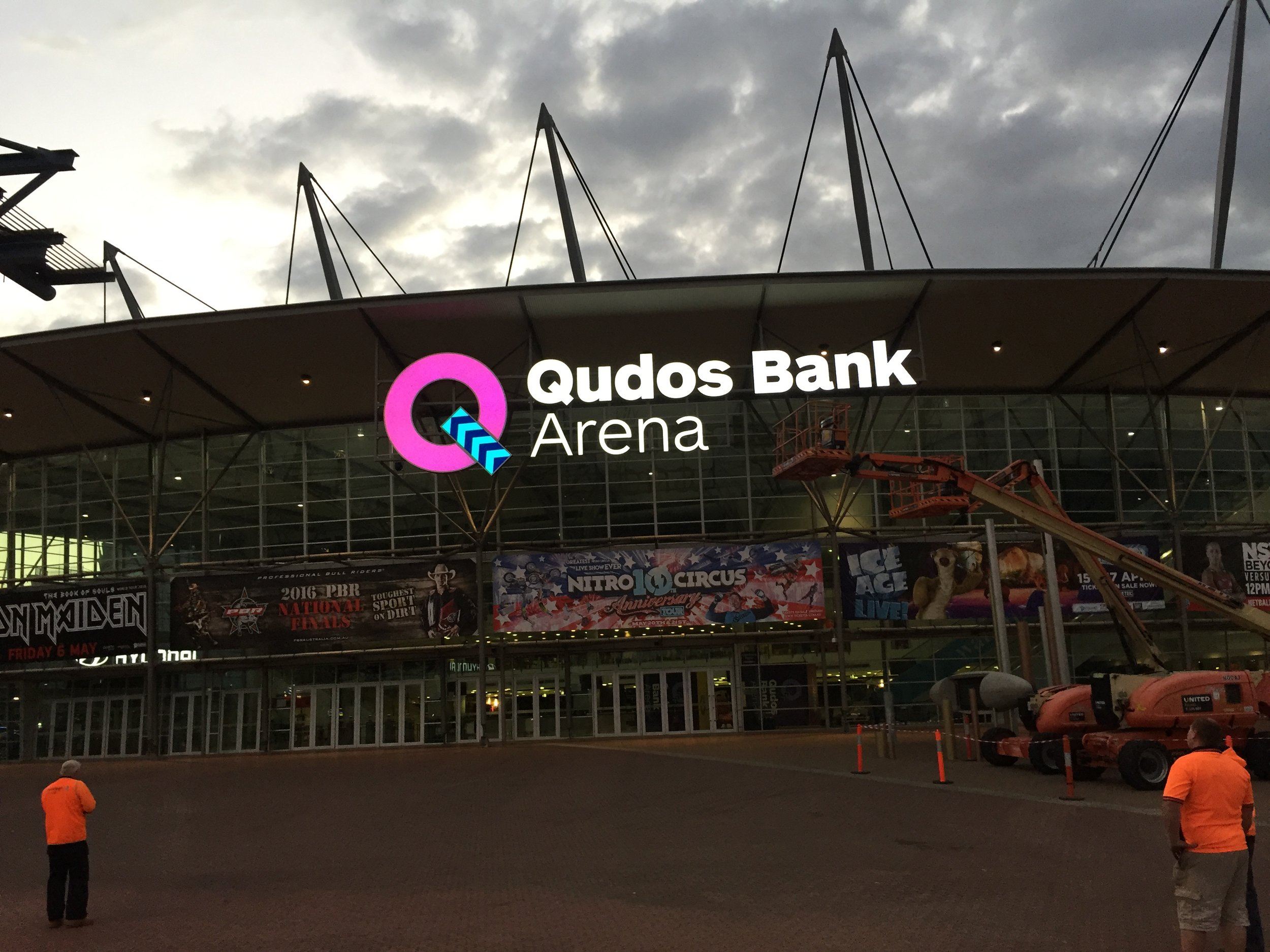 Bentleigh Group signs Qudos bank arena large signs illuminated letters signs installation night works
