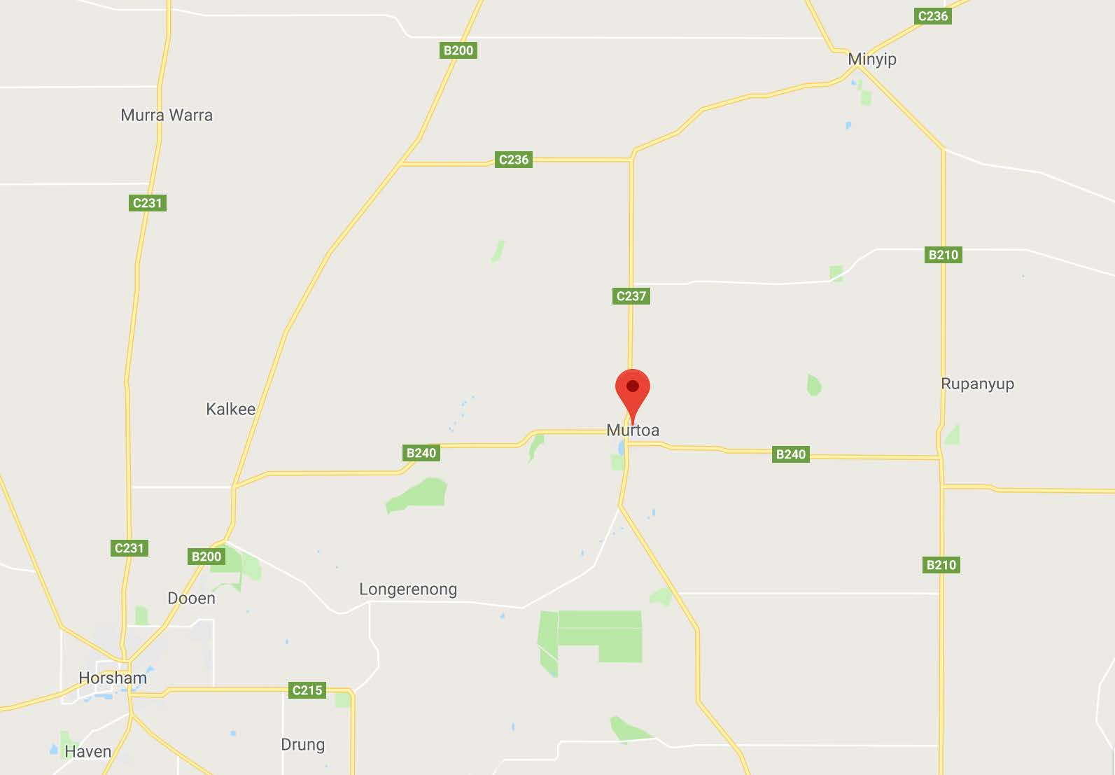Some of the locations visited during my stay (Murtoa, Minyip, Rupanyup, Horsham. Nhill not pictures on map).