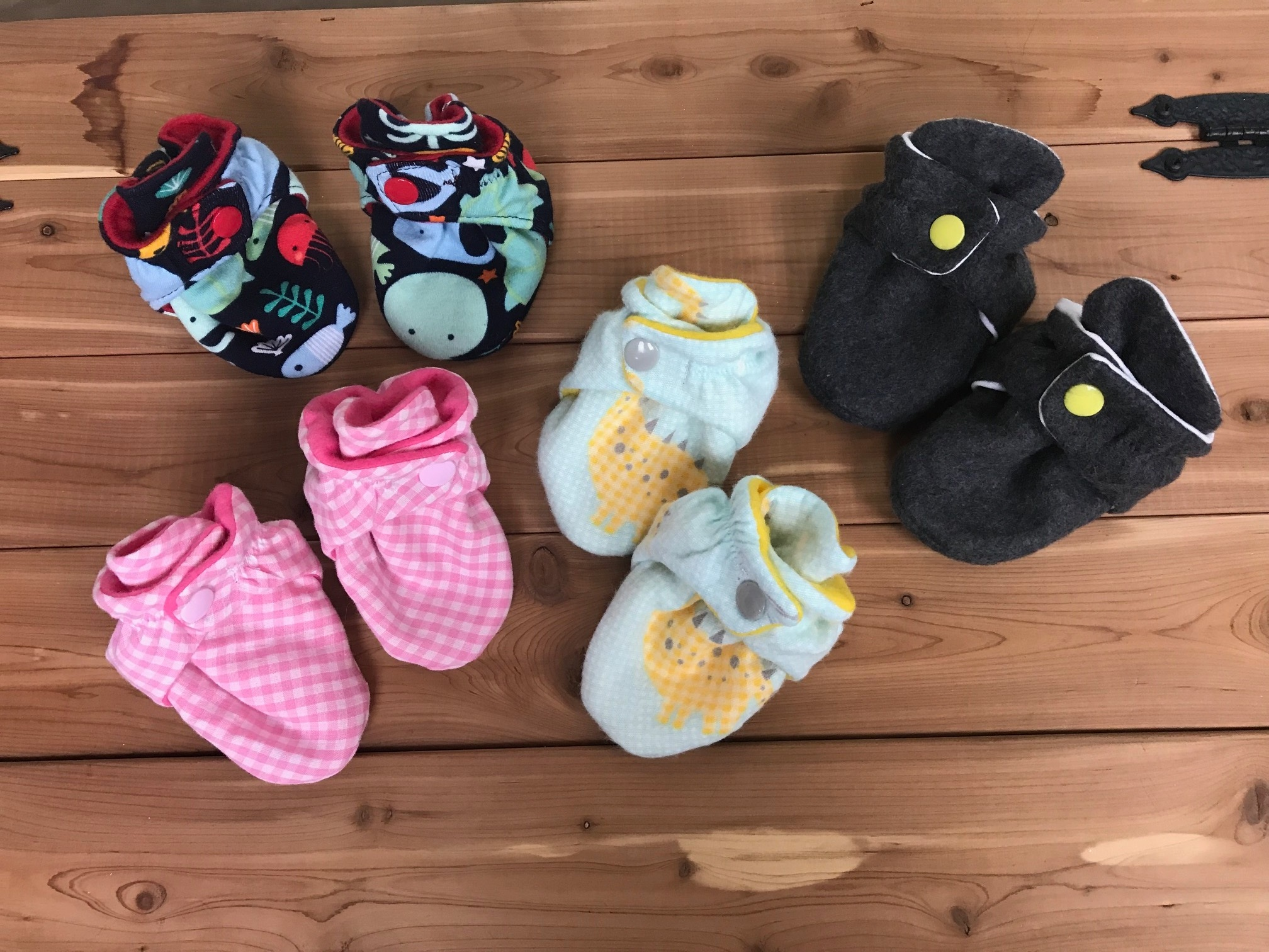 Booties - Cute booties for infants. Soft and comfortable with a snapped closure.