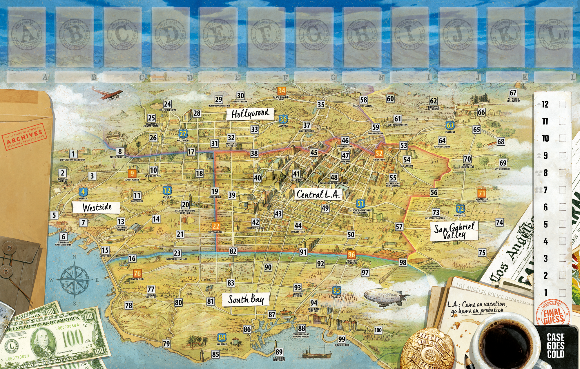The game board is a beautiful, gorgeously detailed map of Los Angeles, originally created by K.M. Lueschner with treatments by renowned board game artist Vincent Dutrait.