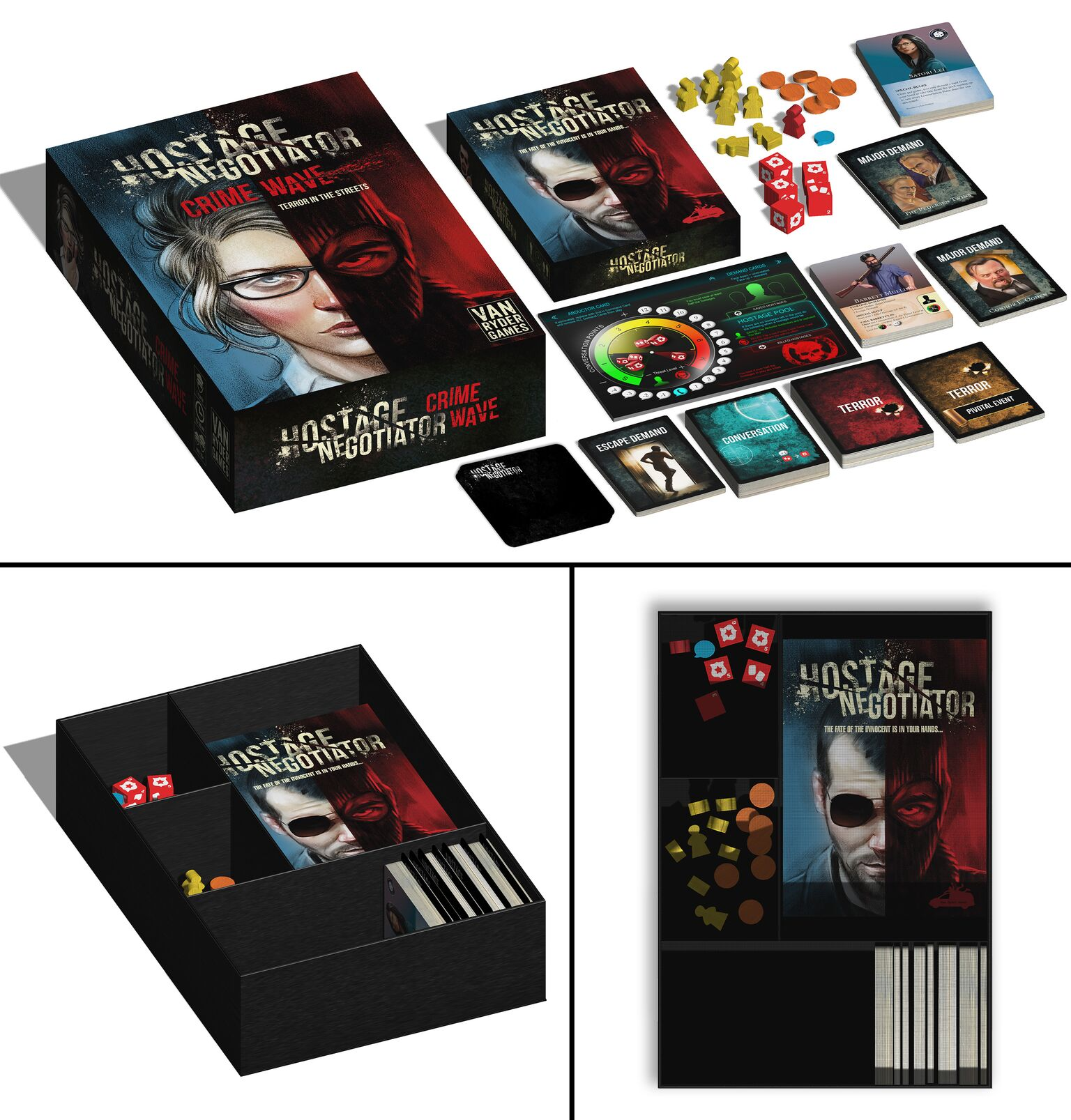 Room to Grow - The larger box of Hostage Negotiator: Crime Wave can easily fit all released content, including the entire original game box!Plus, there's room for more, and you'll still have the portability for taking the game with you on trips.