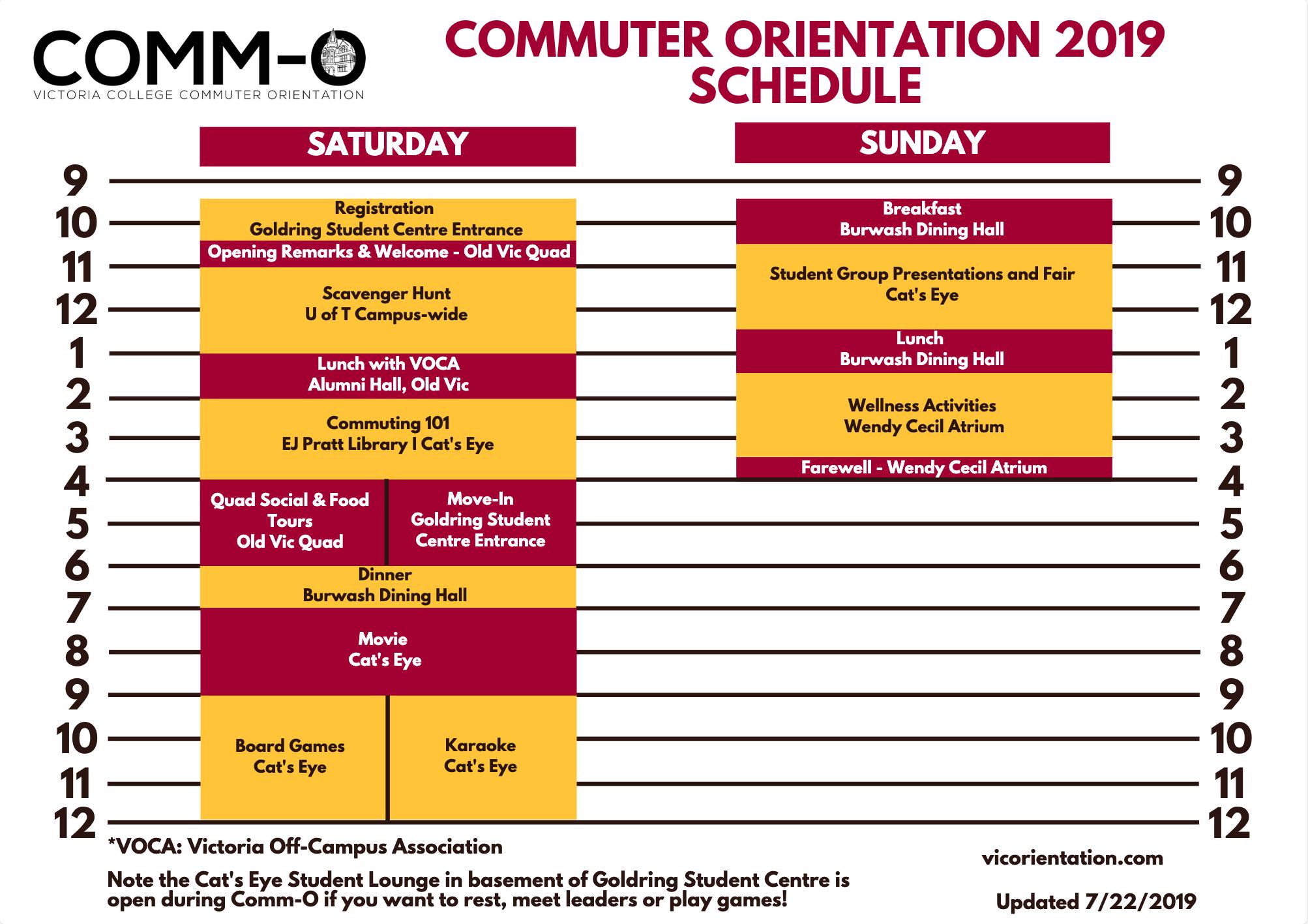 Comm-O Schedule 2019