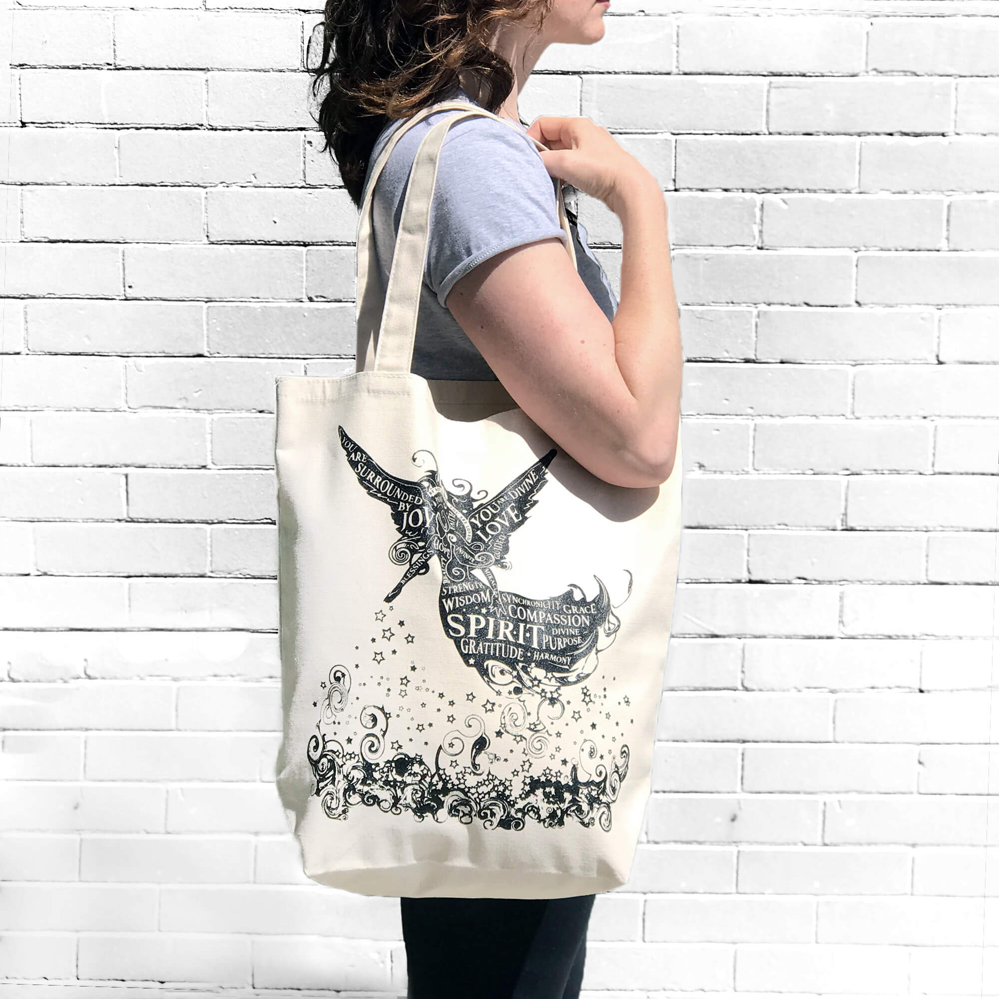 'Divine Words' large organic cotton tote - $20
