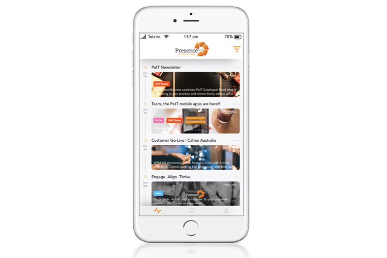 A simple, mobile-optimised experience for your employees to navigate their business activities, and stay connected to your organisation - .
