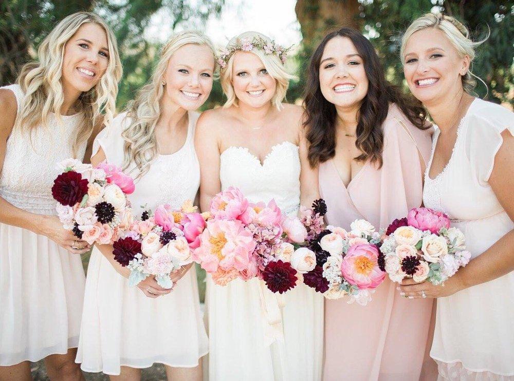 Blonde Bridal Short Hair Flower Crown Bridesmaids Loose Curls.jpg