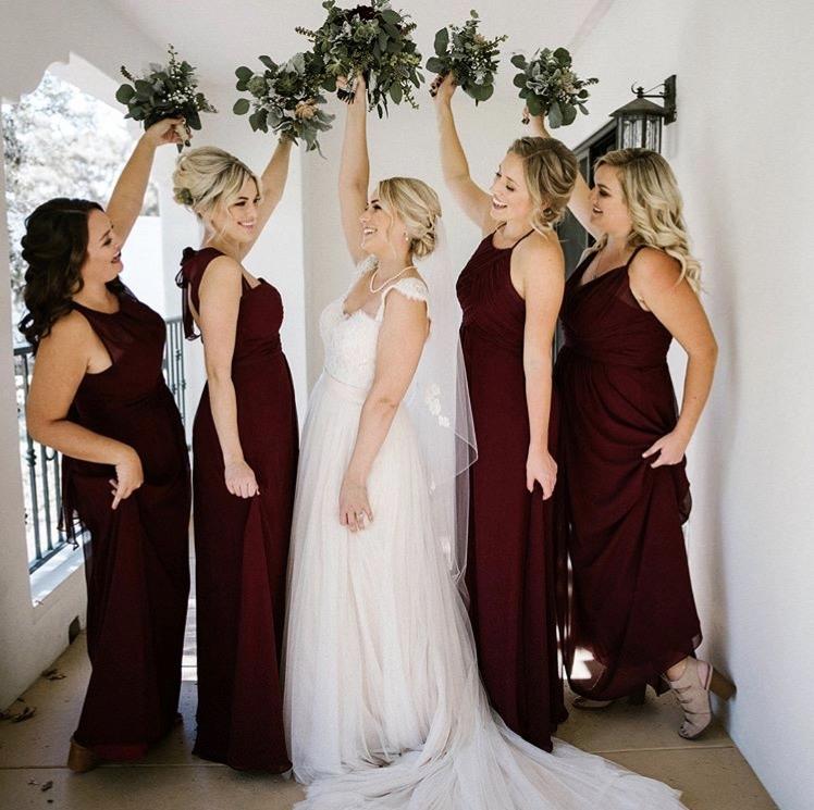 Bride and Bridesmaids Maroon Dresses.jpg