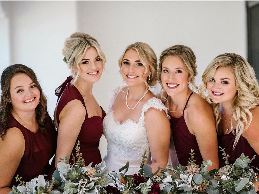 Bride and Bridal Party Blonde Burgundy Dresses.JPG