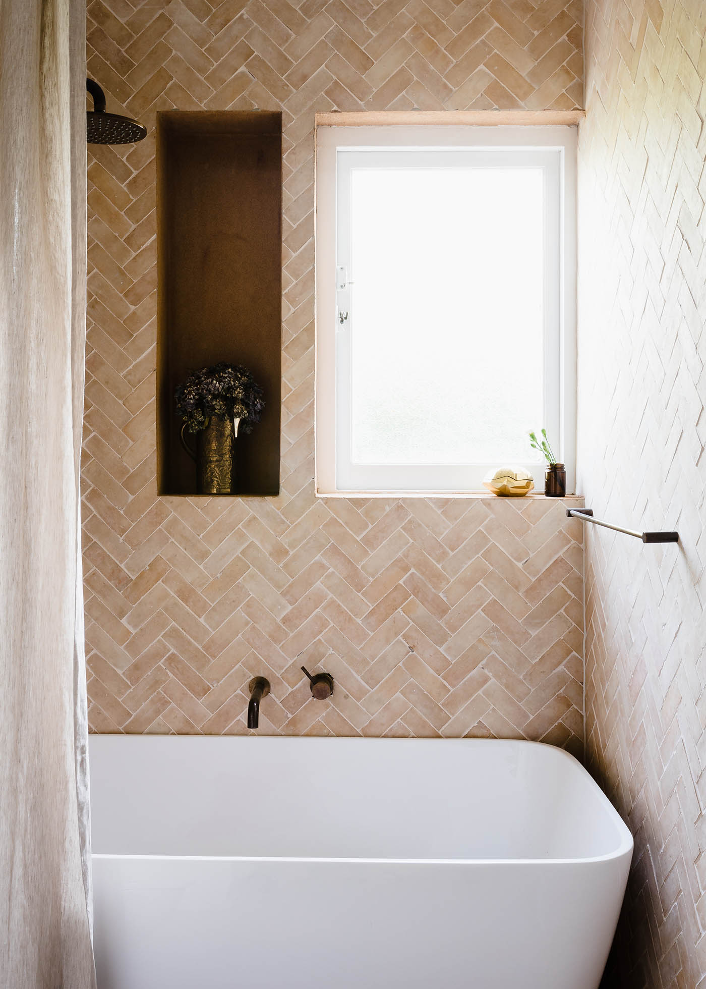 FL005 GABBE INTERIOR TILESOFEZRA Georgia Ezra Home Feature shower Mosaic Moroccan Bejmat Natural shower tile.jpg