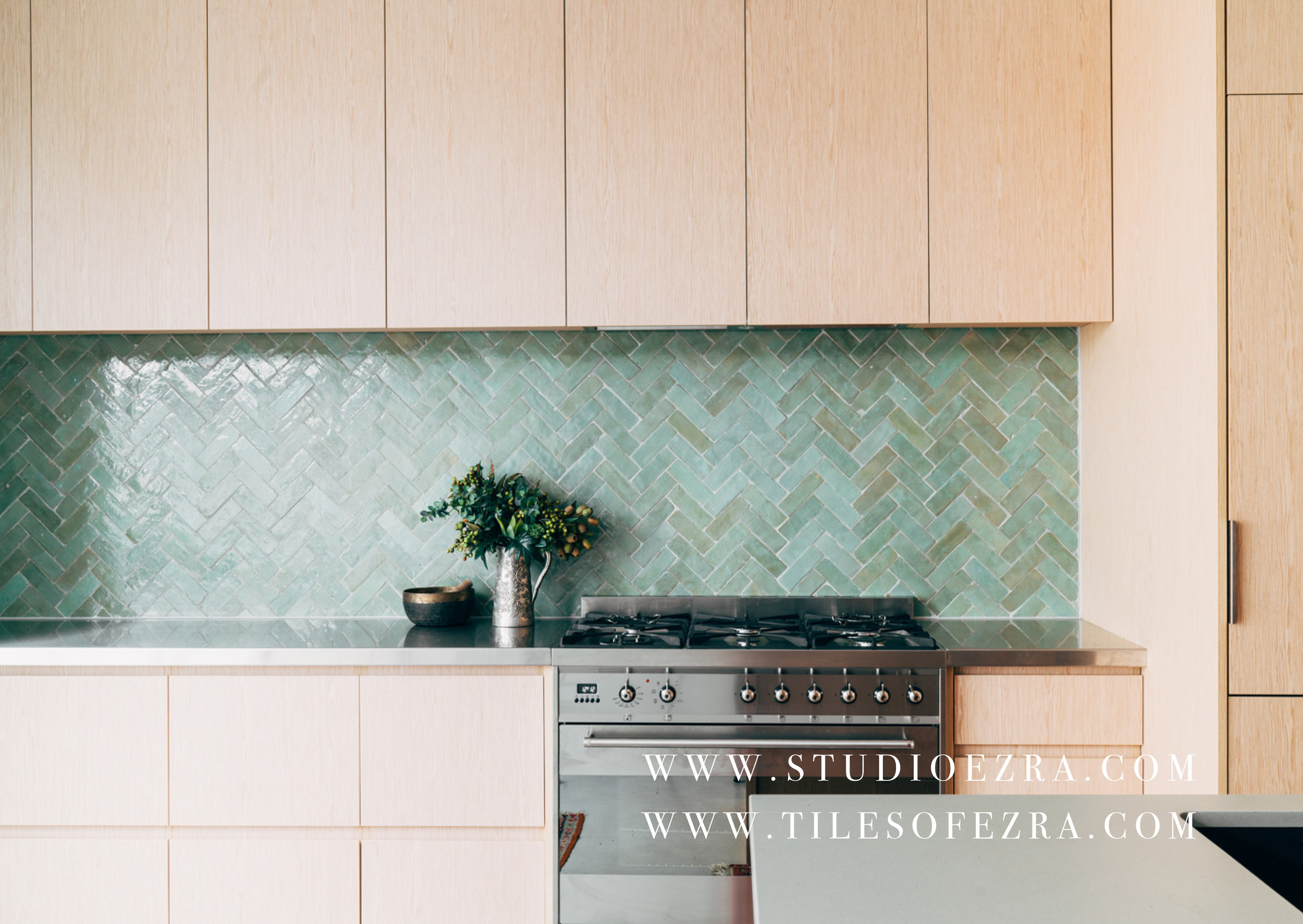 FL006 Moroccan Bejmat Splashback kitchen green tiles .jpg