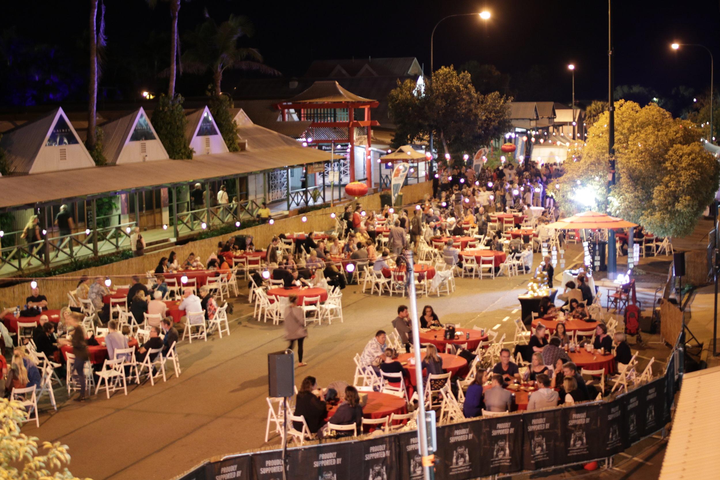 The streets of Broome come to life for the Pearl Harvest Yum Cha during Shinju Matsuri Photo: Brandon Stirrup