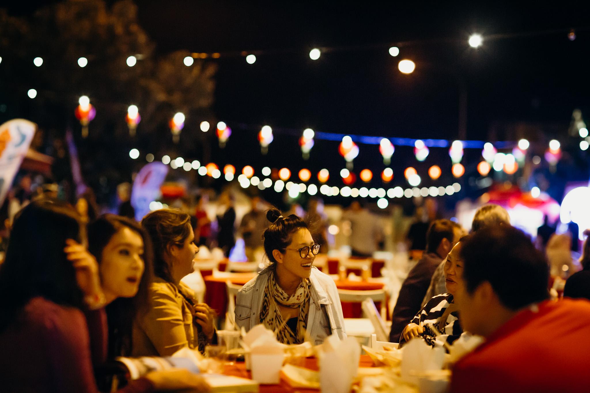 Diners enjoy street food during the Pearl Harvest Yum Cha Photo: Julia Rau
