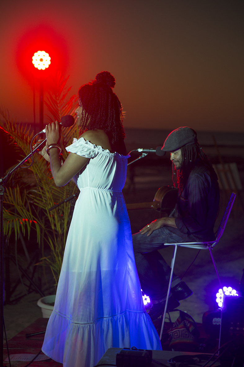 Broome-based duo, Ely & Becca perform at the Sunset Long Table Dinner. Photo: Taja Cole-Berenyi