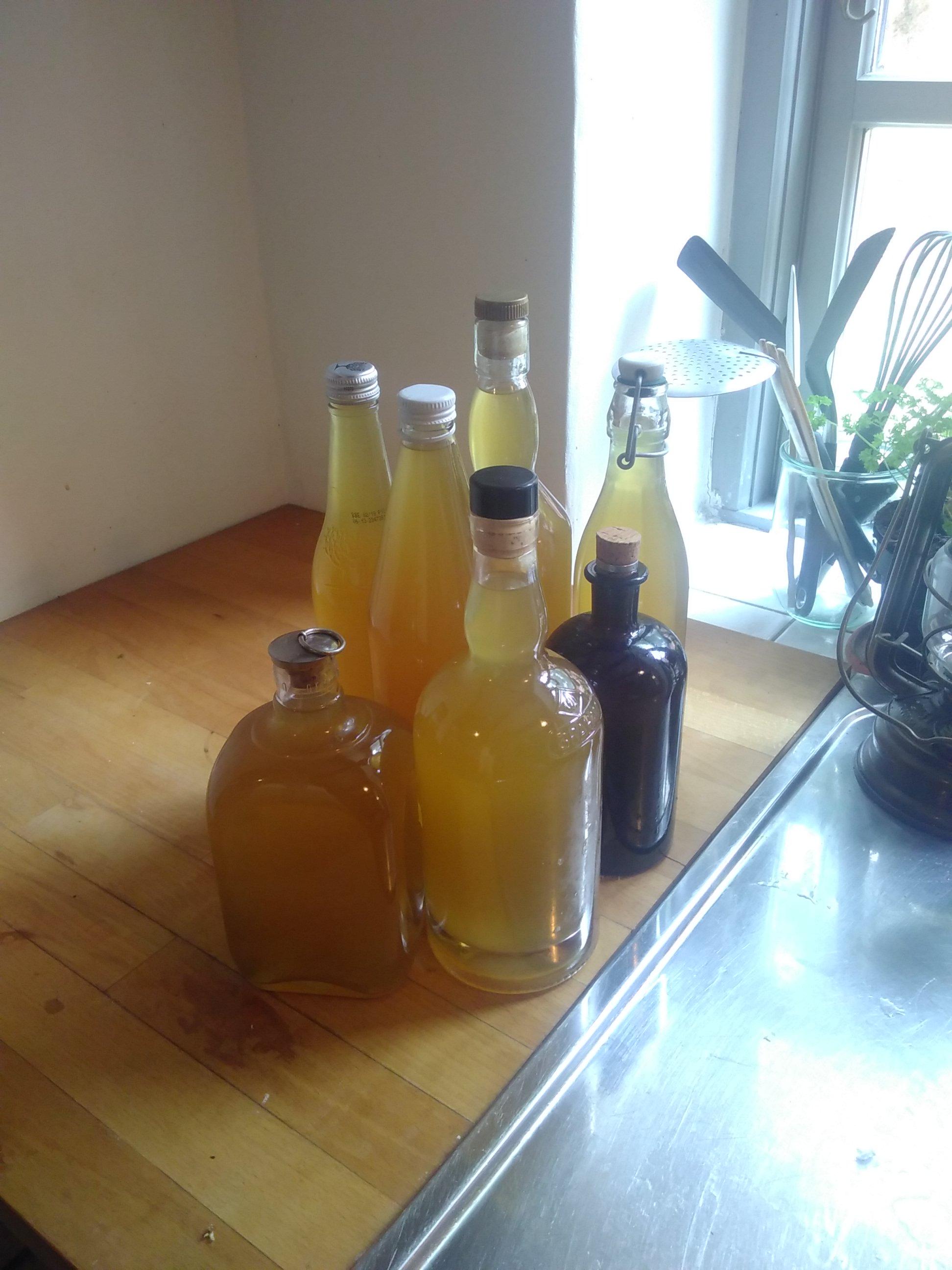 Syv flasker dejlig hyldeblomst