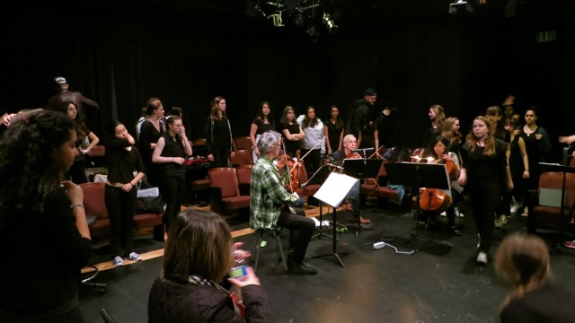 Kronos Quartet and the SFGC in rehearsal at the Grand Central Art Center in Santa Ana for episode 1 of Lisa Bielawa's TV opera Vireo, February 2015 (David Harrington is in the green plaid shirt, center)