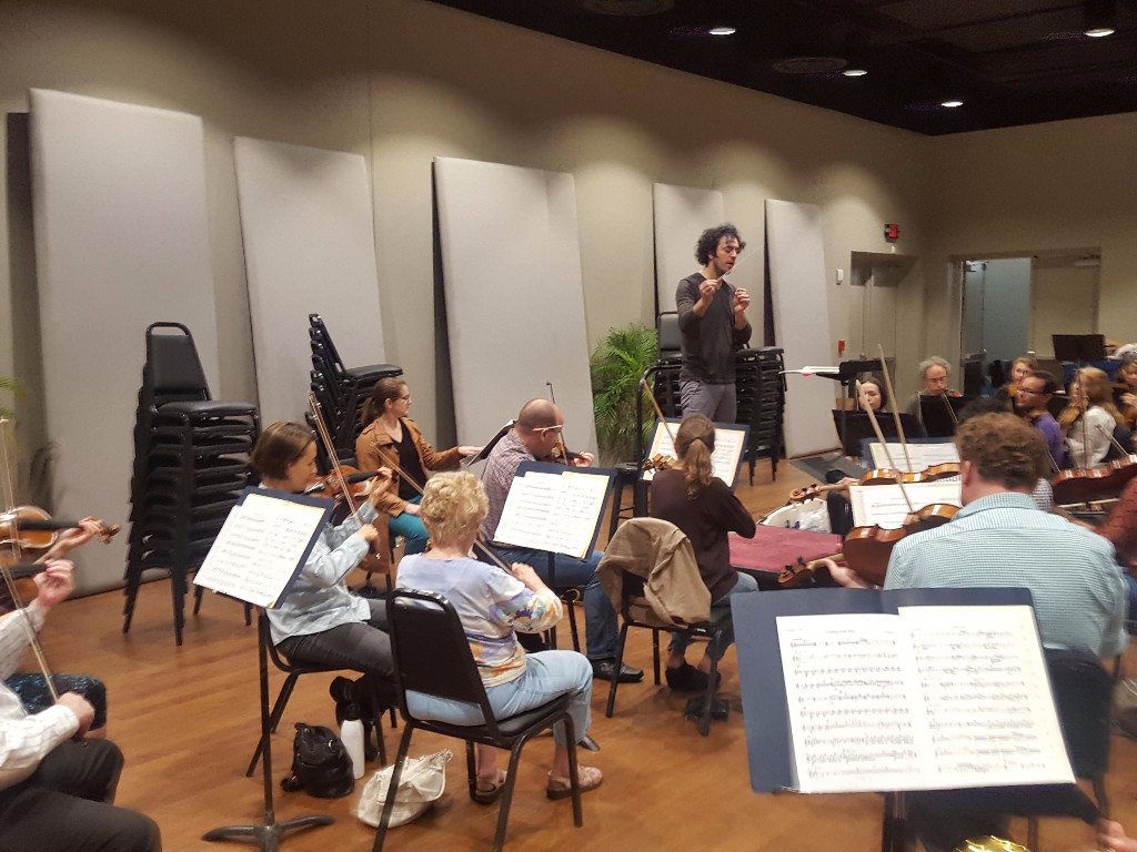 """SFGC AD Lisa Bielawa meets Conductor and SFGC Collaborator Eric Jacobsen's """"other"""" orchestra, the Orlando Philharmonic, in rehearsal last night."""