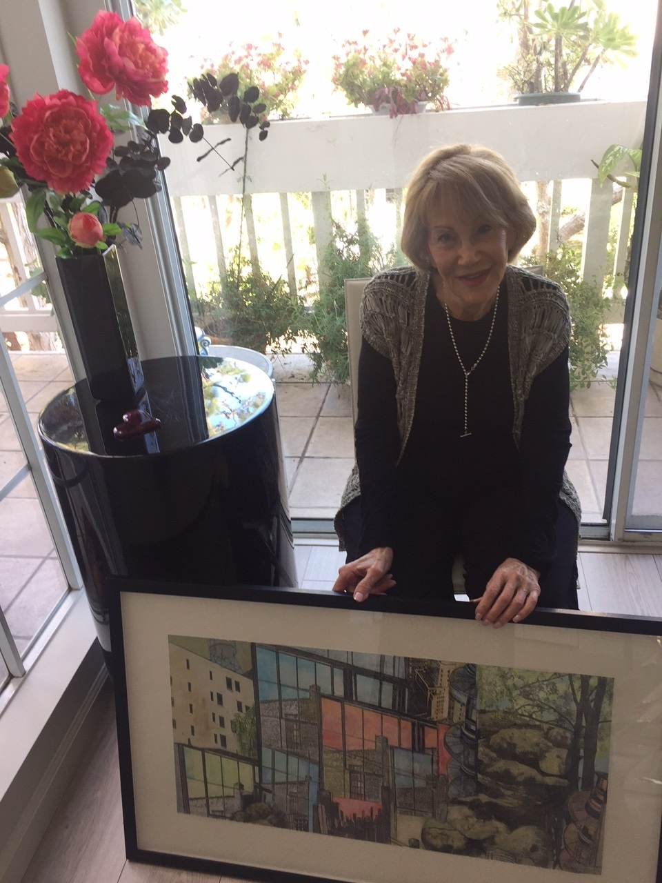 Beth's mom Evelyn at age 86, with her newest painting