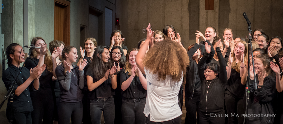 SFGC Music Director Valérie Sainte-Agathe and SFGC during recording.Gabby Vulakh (in braids) is third from the left in the front row.