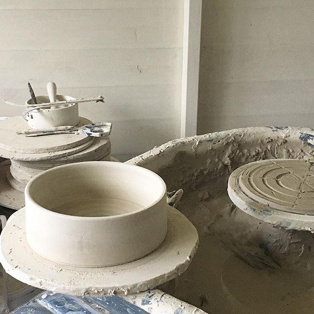 ~{ Studio }~ . . Where it all starts!! #pottery #instapottery #potterylove #potsinaction #ceramic #ceramics #keramik #wheelthrown #wheelthrownpottery #poterie #potery #wip #inmystudio #wearethemakers #makersgonnamake  #handmadeisbetter #modernceramics #bristol #craft #craftsmanship #makersmovement #maker #livefolk #kinfolk #bristolmaker  #cakestand #lemon