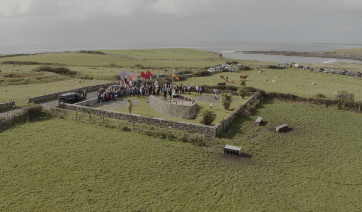 Aerial view of Spanish Armada commemoration at the Armada Monument, Streedagh yesterday (photo Omedia/Mike Guckian)