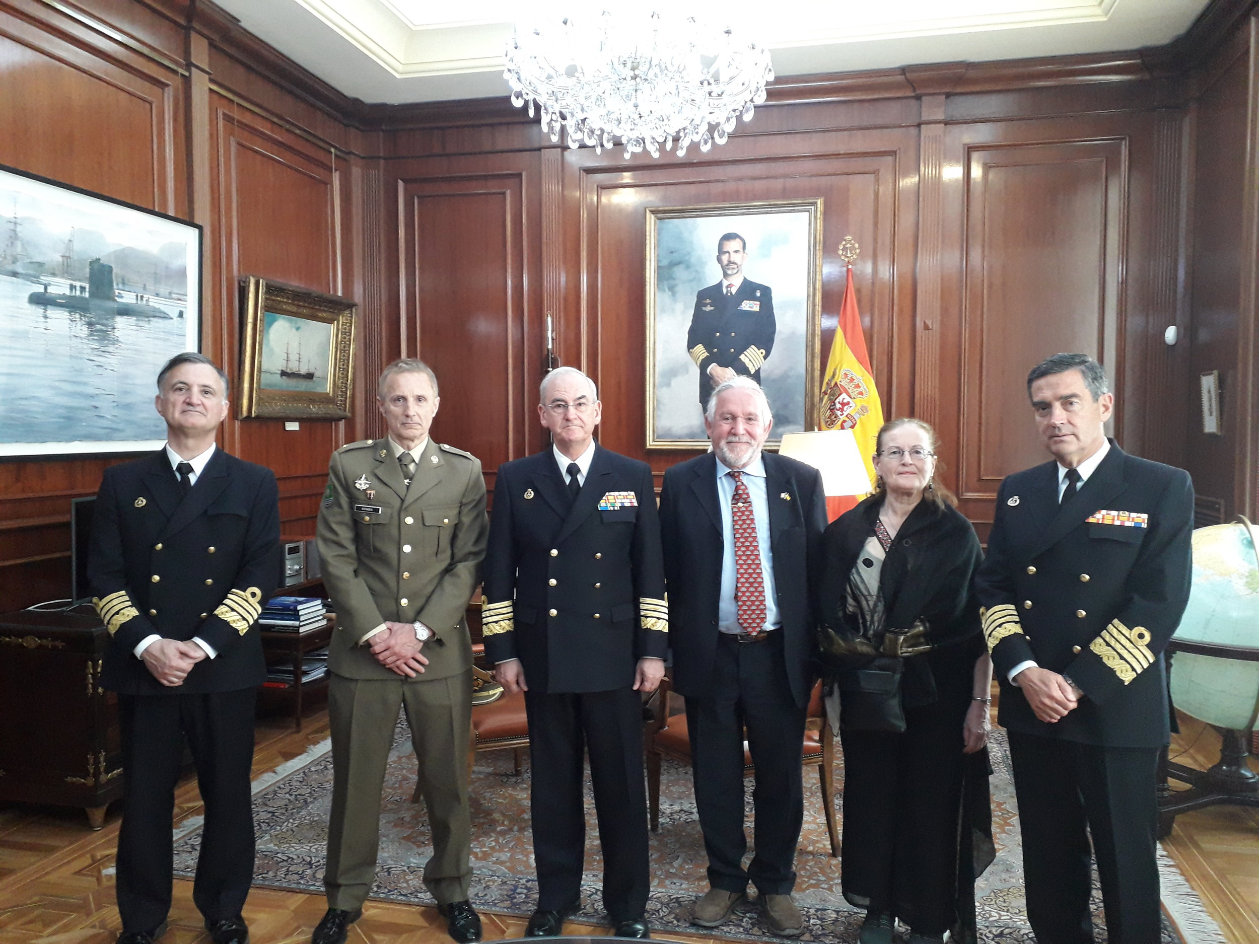 Eddie & Mary O'Gorman with Joaquin Estades Seco and senior Spanish Navy personnel in Madrid, April 2019