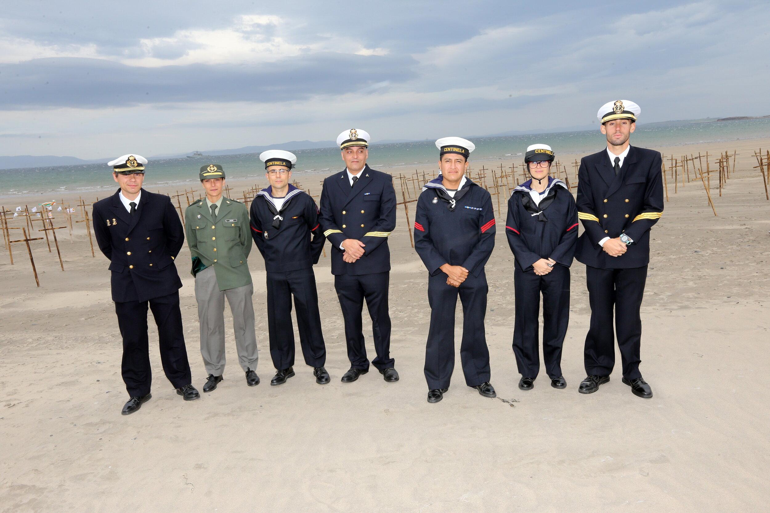 Spanish Naval personnel on Streedagh Beach - photo Charlie Brady