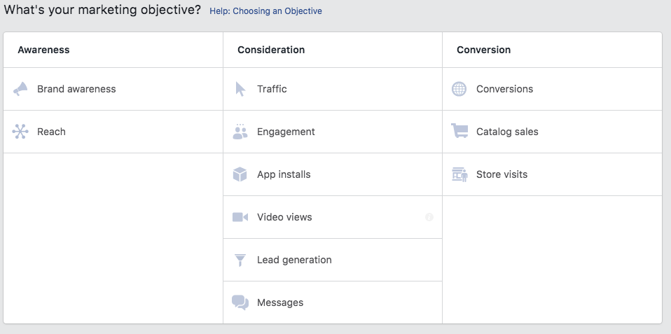 Facebook Ad Options