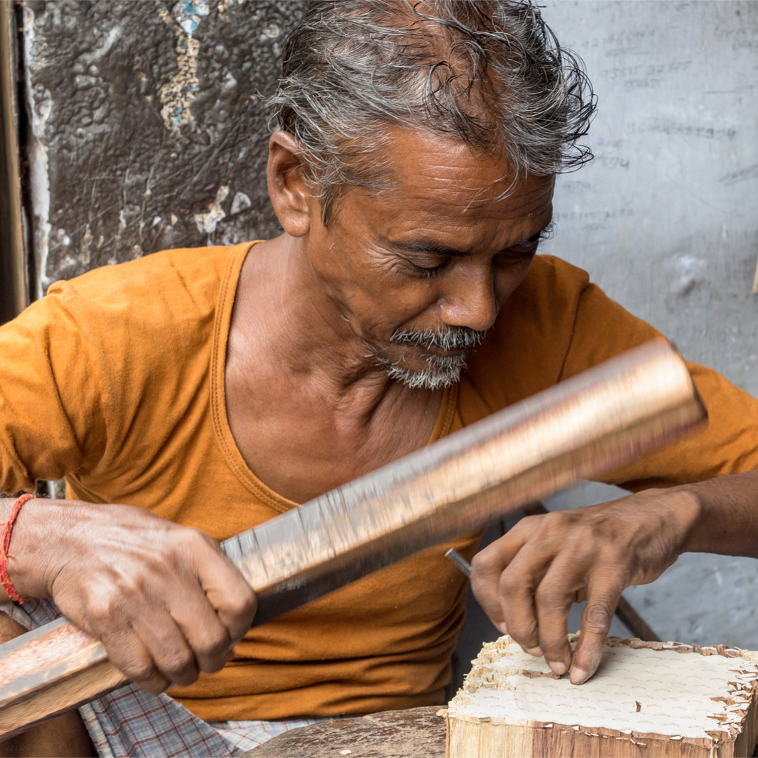 We work closely with local Artisans in Jaipur, India who transform these fabrics into our designs. -